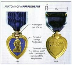 Purple heart medal-- my dad had one. Purple Heart Day, All Things Purple, Purple Haze, Coat Of Arms, Marine Corps, Military, United States, Carving, Brave