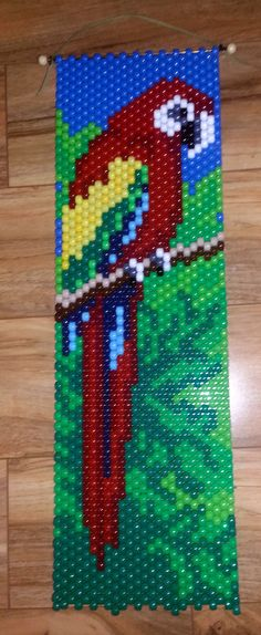 Items similar to Beaded Macaw Banner on Etsy Pony Bead Patterns, Peyote Patterns, Beading Patterns, Cross Stitch Patterns, Beaded Crafts, Beaded Ornaments, Loom Bands, Art Perle, Beaded Banners