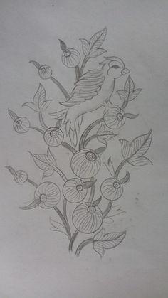 Good Morning Embroidery On Kurtis, Hand Embroidery Dress, Blackwork Embroidery, Hand Embroidery Stitches, Embroidery Patches, Embroidery Art, Embroidery Patterns, Saree Painting Designs, Basic Sketching