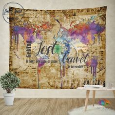 World Map Wall Hanging world map abstract watercolor wall tapestry, grunge world map wall