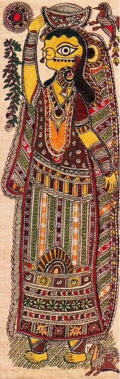 Madhubani or Mithila Paintings are said to have originated during the period of Ramayana, when King Janaka commissioned artists to do paintings during the wedding of his daughter, Sita to Lord Ram. The paintings usually depicted nature and Hindu religious motifs, the themes generally revolve around Hindu deities.http://handicrafts.exoticabazaar.com/view/4849-7-fisher-women122.html
