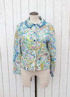 Vintage 70's Colorful shirt Watercolor Paint Psychedelic Shirt Small Shirt Peter Pan Collar Blouse. 18.00, via Etsy.