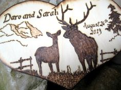 Deer Wedding Cake Topper -Buck and Doe with Mountains, Tree and Old Fence, camo, hunting, rustic pyrography -Personalizable