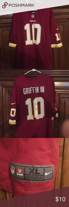 Nike RGIII Redskins jersey Nike RGIII Redskins jersey. Worn for only one season! Looking for something to start your next bon fire with? This is it!! Or, do you have a Redskins friend you'd love to piss off? If so, this is the perfect gift for them!! Make an offer, I wouldn't actually charge you $10 for this. Nike Shirts