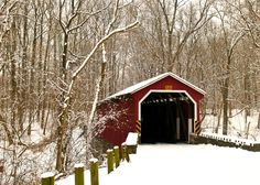 Inspiration Lane - snow covered bridge