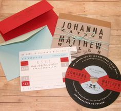 Omg loving these invites!!!!! Music+Lovers++Retro+Record+Wedding+Invitation+by+LetterBoxInk