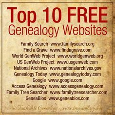 Top 10 Free Genealogy Websites ~ I've never had much interest in genealogy, but just in case. Free Genealogy Sites, Genealogy Research, Family Genealogy, Genealogy Chart, Free Genealogy Records, Ancestry Websites, Ancestry Free, Free Genealogy Search, Genealogy Quotes