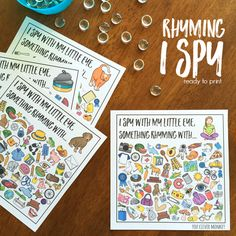 Word Family I Spy Mats - ready to print I Spy mats for common word family patterns. Perfect for literacy centers or Daily 5 Word Work, these I Spy CVC word mats are a fun way to hear and identify rhyme Literacy Work Stations, Kindergarten Literacy, Early Literacy, Literacy Activities, Rhyming Activities, Hands On Activities, Toddler Activities, Early Years Teacher, Rhyming Words