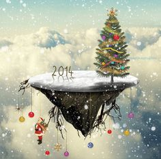Create a Christmas Tree Floating Island in Photoshop - Photoshop tutorial | PSDDude