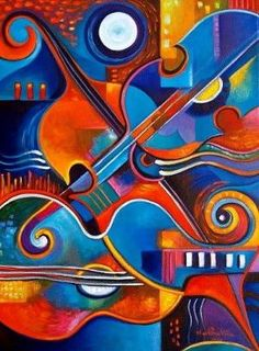 Abstract  Cubist Giclee print of my original acrylic painting on canvas String Concert Under The Moon Marlina Vera Gallery by aileen
