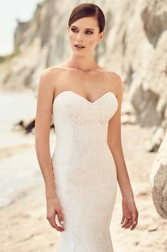 Lace Accent Crêpe Wedding Dress - Style  2117 9fc1f040d