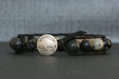 grey picasso jasper bracelet on black leather  by CorvusDesign