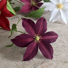 Crepe Paper Clematis, Single Stem - Wedding Flowers - Home or Office Decor - Florist Supply - Paper Flowers - First Anniversary Gift - Art