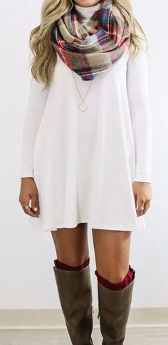 White Plain High Neck Long Sleeve Casual Mini Dress Available Sizes :XS;XXL Shoulder Width(cm) Bust(cm) Length(cm) Sleeve Length(cm) Type :Loose Material :Dacron Color :White Pattern :Plain Collar :Collarless Length Style :Above. Street Style Outfits, Fall Outfits, Casual Outfits, Cheap Dresses, Simple Dresses, Casual Dresses For Women, Fashion Magazin, Neue Outfits, Looks Chic