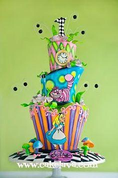 Alice in Wonderland 1st Birthday Cake
