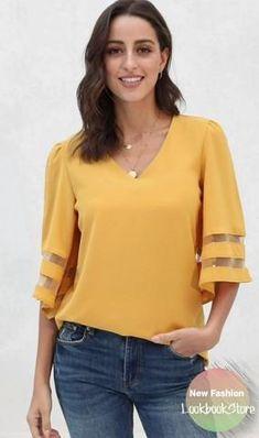 Moda Plus Size, Plus Size Tops, Kurta Designs Women, Loose Tops, Blouse Styles, Blouses For Women, Tunic Tops, Women's Camisoles, Sleeves