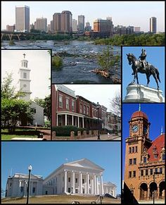 Top: Skyline above the falls of the James River Middle: St. John's Episcopal l Church, Jackson Ward, Monument Avenue. Bottom: Virginia State Capitol, Main Street Station
