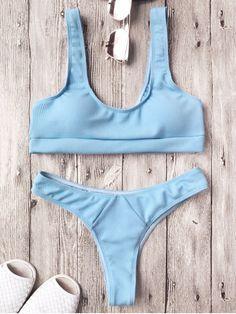 $13.99 Ribbed Midi Bralette Bikini Set - LIGHT BLUE M