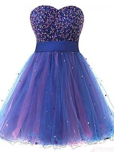 A-line Sweetheart Knee-length Organza Sequins Short Prom Cocktail Homecoming…