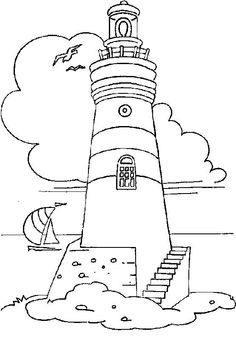 Drawings of lighthouse. Pictures of lighthouse in the sea for coloring. Coloring Pages To Print, Coloring Book Pages, Coloring Sheets, Staircase Pictures, Lighthouse Painting, Lighthouse Sketch, Wood Burning Patterns, Stained Glass Patterns, Digi Stamps