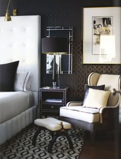 masculine bedroom - i forgot to add... see the mirror behind the lamps? adds pizzazz to the room. makes it bigger, reflects light better