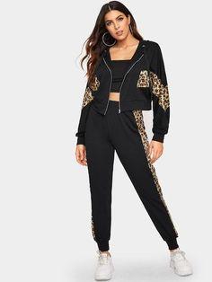 Conjunto de sudadera con capucha y pantalón de chándal con cremallera y panel de leopardo - #capucha #chandal #CON #conjunto #cremallera #DE #leopardo #panel #pantalon #sudadera