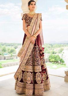 Velvet Embroidered Bridal Lehenga Choli In Maroon Rajasthani Lehenga, Indian Bridal Lehenga, Red Lehenga, Pakistani Bridal Wear, Sabyasachi, Indian Wedding Outfits, Bridal Outfits, Indian Outfits, Indian Weddings