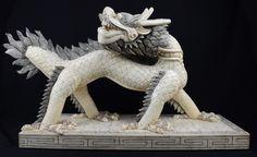 Dragão Celestial, Grande escultura oriental em placas d..