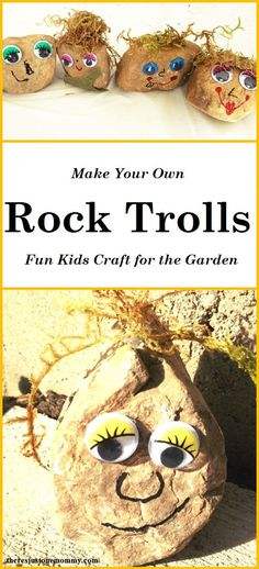 Looking for a fun kids garden craft?  This make your own rock troll craft is perfect for Troll fans and as a Disney Frozen craft, too.  Click over to the blog for full directions.