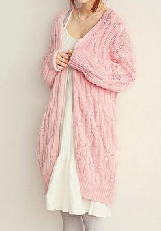 Pink Cable Knit Cardigan