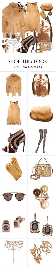 """""""PAINT IT BLACK ! rose gold jewelry"""" by kuropirate on Polyvore featuring Balmain, Rare London, Catherine Quin, Eric Javits, La Perla, Hermès, Dolce&Gabbana, Oliver Peoples, Vintage and LeVian"""
