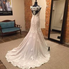 Lace and tulle over Royal organza in a modern, modified A-line silhouette is a traditional take on a classic bridal look. Wedding Stuff, Dream Wedding, Wedding Ideas, Romantic Lace, Fantasy Wedding, Wedding Dress Styles, Bridal Looks, Dress Lace, Tulle