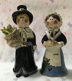 Heather Goldminc. Pilgrim Couple shaker set by Blue Sky Clayworks and designed by Heater Goldminc. Pilgrim Couple. Shaker Set. Blue Sky Clayworks. This is a preowned set of Blue Sky salt/pepper shakers. | eBay!