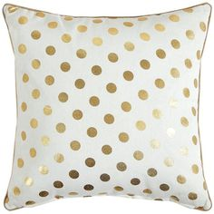 Gold Spot Cushion (£15) ❤ liked on Polyvore featuring home, home decor, throw pillows, gold home accessories, gold throw pillows, gold polka dot throw pillow, gold toss pillows and polka dot throw pillows