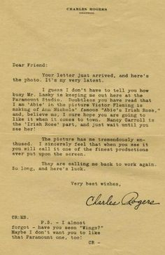 """Studio form letter sent to a fan of Charles Buddy Rogers in 1928. """"Murder at Eastern Columbia,"""" a James Murray mystery, by Christopher Geoffrey McPherson."""