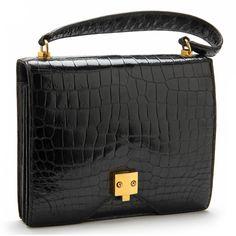Black Crocodile Top Handle Bag, Hermes Sold $2,300