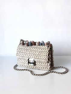 Beige structured shape bag | Beige shoulder chain bag | Structured shape cross body bag | | Metal rings fabulous bag | luxury bag (Bon-bon handle drop not included, but can be ordered separately here ----> http://etsy.me/28RNivZ)    Details:  »»» Length 7in/18cm »»» Width 5,9in/15cm »»»