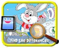 Snow Bunny - Find the Differences Game, Online mobile and tablet-ready game for kids Easter Games For Kids, Free Games For Kids, Snow Bunnies, Bunny, Find The Differences Games, Hidden Pictures, Online Mobile, Easter Holidays, Smurfs