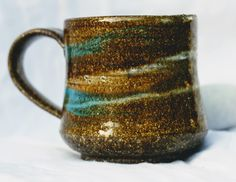 Hand thrown stoneware slip decorated ceramic mug. by FireonClay on Etsy Pottery Kiln, Pottery Wheel, Ceramic Pottery, Stoneware Mugs, Coffee Mugs, Two By Two, Give It To Me, Ceramics, Unique Jewelry