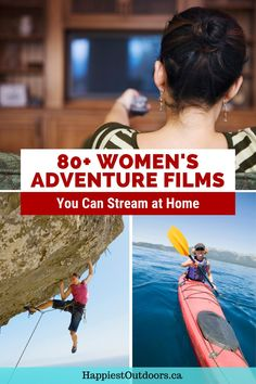 Need some outdoor adventure inspiration? This list has over 80 outdoor documentaries featuring women and you can stream them all. Watch films about female climbers, mountain bikers, kayakers, hikers, runners, surfers, and skiers. Create your own women's adventure film fest with this epic list of female outdoor documentaries. Adventure Movies, Adventure Activities, Kayak For Beginners, Girls Trips, Kayaking Tips, Movie Ideas, Hiking Spots, Travel Books, Get Outdoors