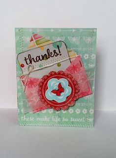 Thanks card by Patty Folchert featuring Jillibean Soup Summer Red Raspberry Soup Homemade Birthday Cards, Homemade Cards, Thanks Card, Red Raspberry, Interactive Cards, Die Cut Cards, Shaker Cards, Watercolor Cards, Mini Books