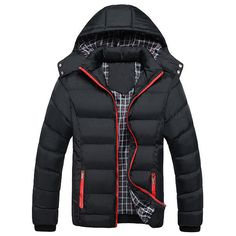 Mens Thick Solid Color Winter Hooded Deatchable Coat Slim Warm Jacket #RN #Baseball