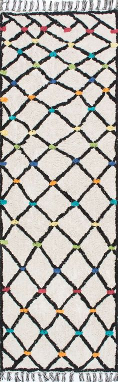 ToledoSC02 Hand Tufted Color Dotted Wavy Trellis Rug