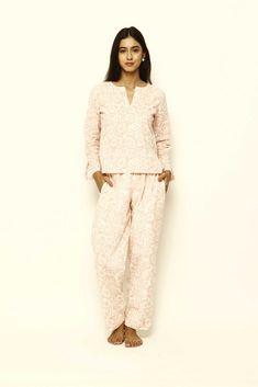 Lavanya Coodly - Mirabella - Womens Super Soft Cotton Hand Printed Pajama Set Luxury Clothing Brands, Pajama Bottoms, Pajama Pants, Cotton Pyjamas, Plus Size Lingerie, Winter Looks, Wide Leg Pants, Pajama Set, Women Lingerie