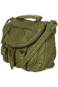 Green Washed Zip Cross Body Bag - StyleSays