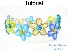 Beaded Flower Power Bracelet Beading Pattern Tutorial by Cara Landry with Simple Bead Patterns