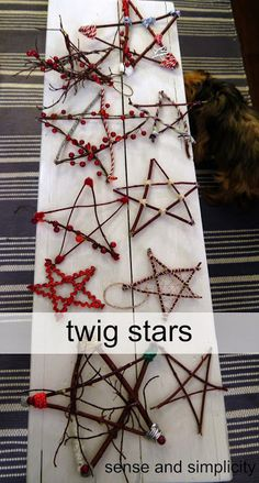 Christmas Craft Party - stars made from twigs and sticks and decorated with beads and ribbon. Perfect Frugal DiY Christmas tree decorations to make with your children.