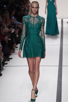 Short emerald lace green dress from Elie Saab's Spring 2014 Ready-to-Wear Collection Slideshow on Style.com