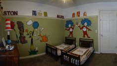 dr suess thing one and thing two bedroom decor | ... Thing 1 & Thing 2, Wall murals were painted by a good friend, she is