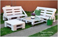 This pallet garden set is made from 6 pallets. There are two benches, coffee table with glass and wheels, and smaller stool (it also can be used as the second table). It's painted with white (oil based) paint, and after…